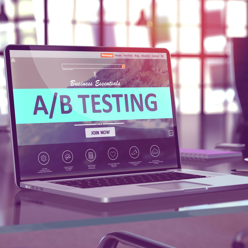 abtesting.jpg (A/B Testing Concept on Laptop Screen.)